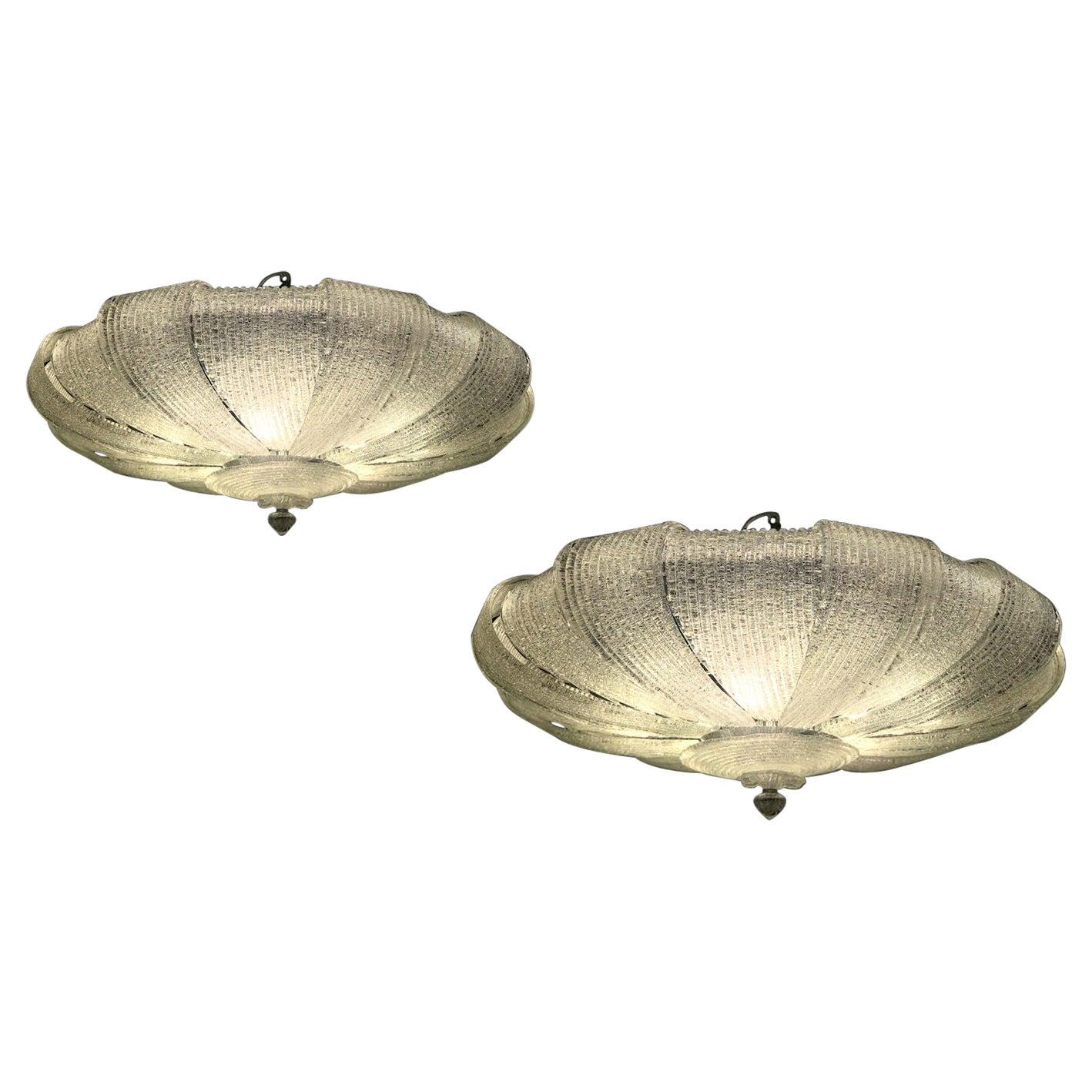 Pair of Italian Murano Glass Leaves Modern Flush Mount or Ceiling Light