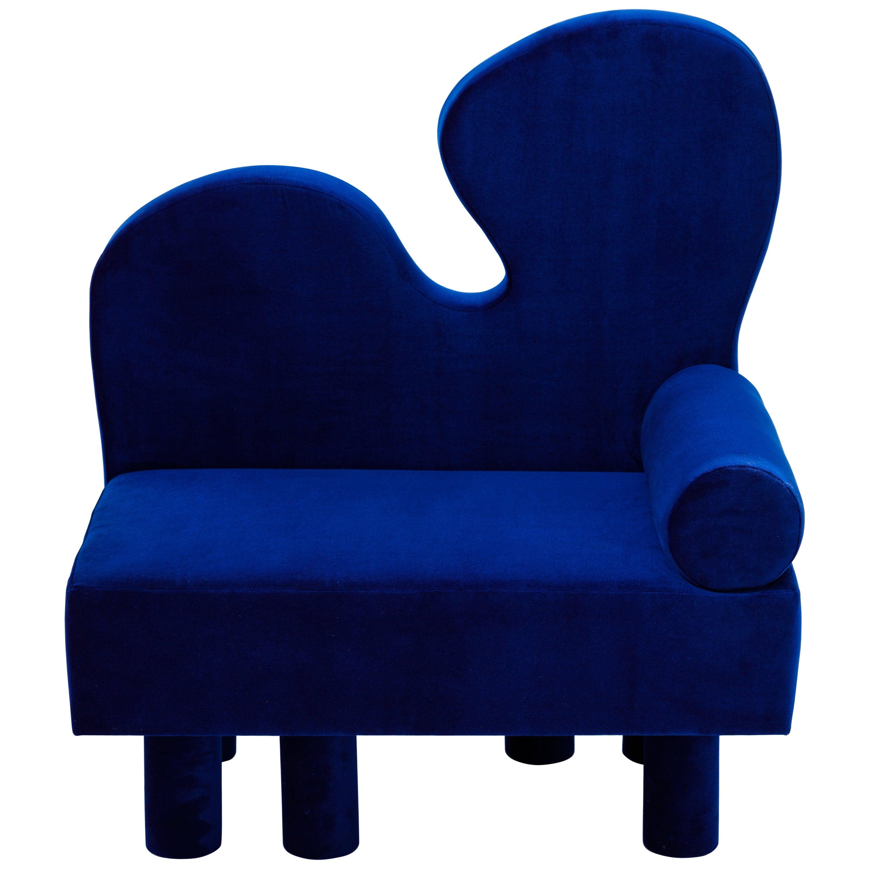 Bordon Contemporary Lounge Chair in Blue Velvet