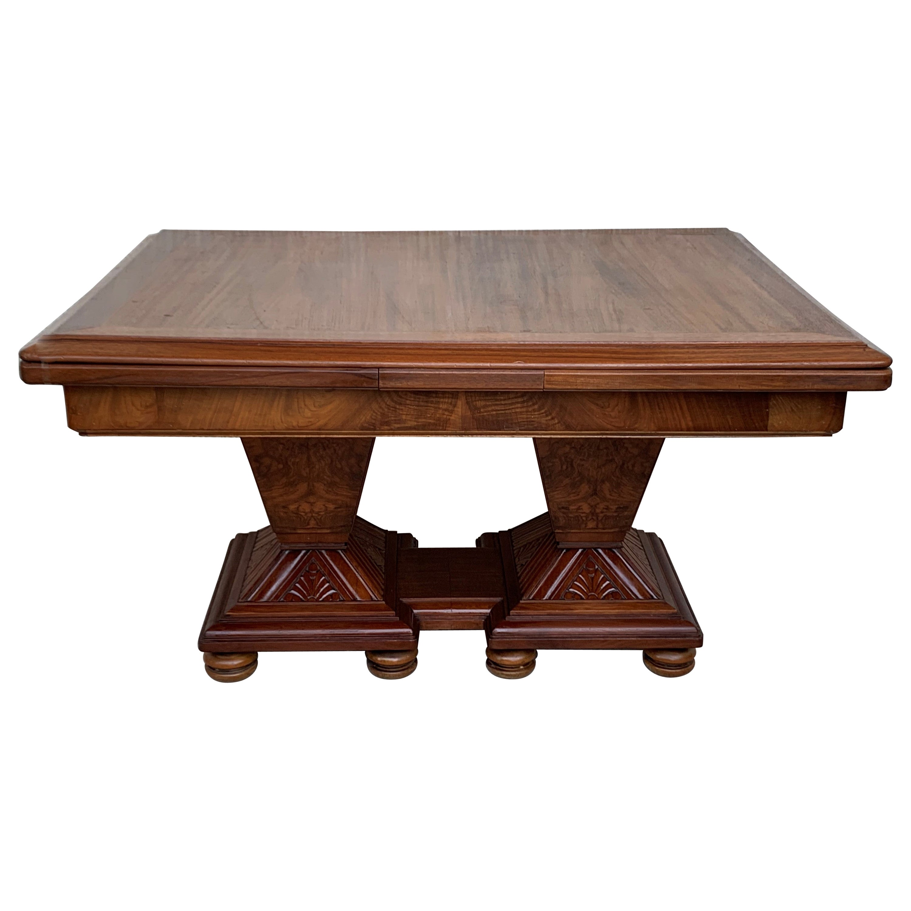 Square Extendable Art Deco Dining Table with Two-Burl Walnut Pedestals