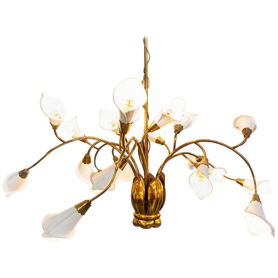 1950s Italian Midcentury Brass and Metal Ceiling Lamp, Attribute Angelo Lelii