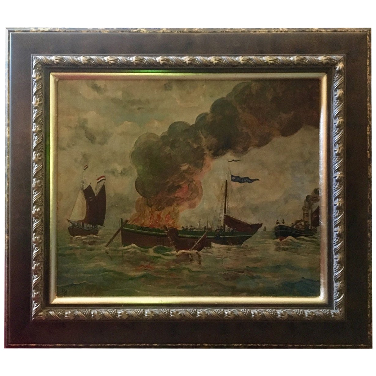 Dutch Folk Art Oil Painting Dramatic Seascape, Monogram and Dated