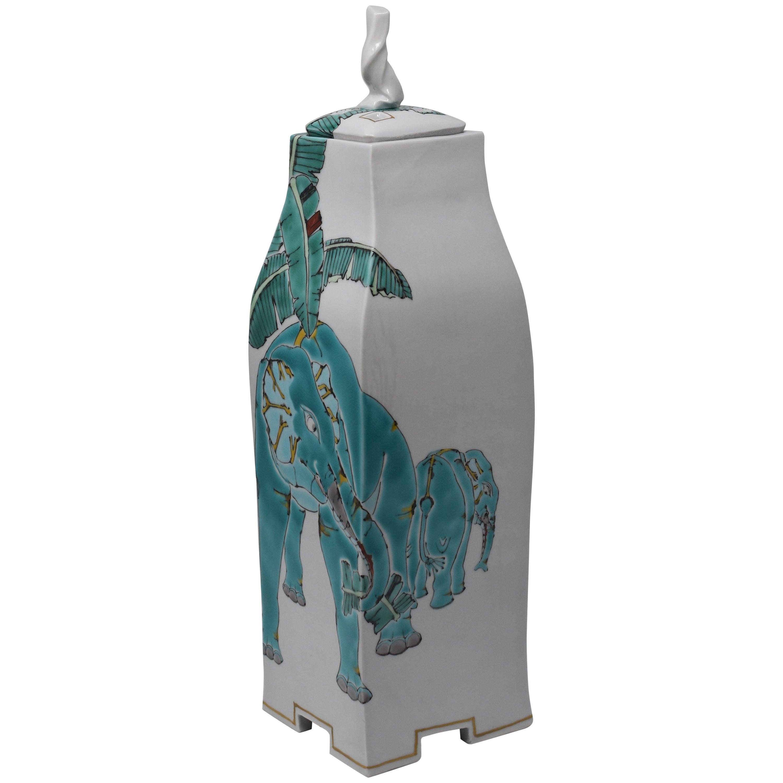 Japanese Contemporary Kutani Green Decorative Porcelain Vessel by Master Artist
