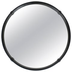 Pair of Circular Leather Wrapped Mirror in the Style of Pace
