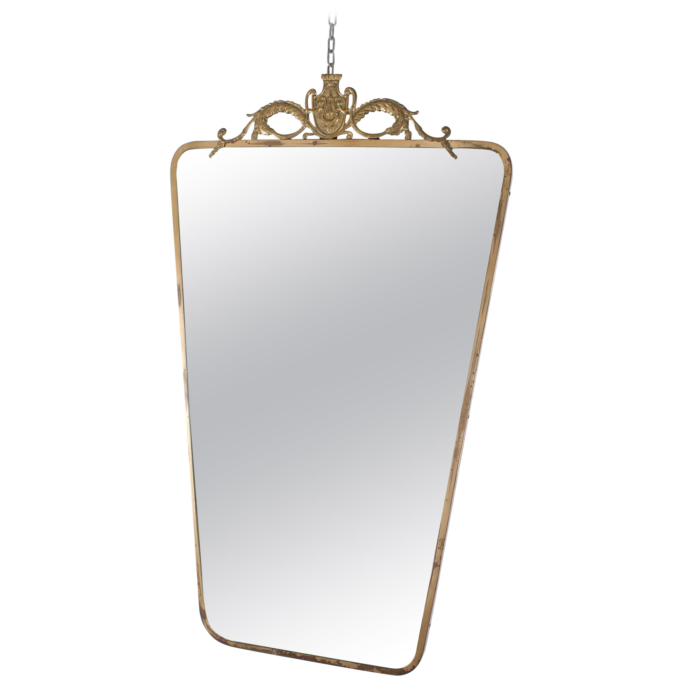 Art Deco Italian Brass Wall Mirror Pier Luigi Colli Style, 1950s