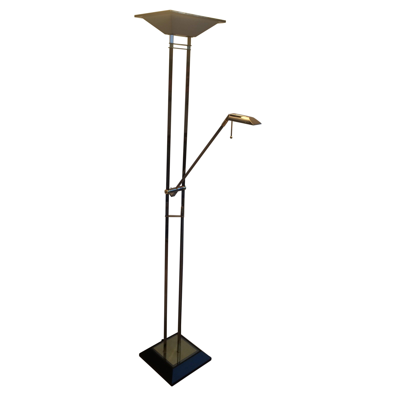 Gun Metal and Brass Floor Lamp, French, Circa 1970