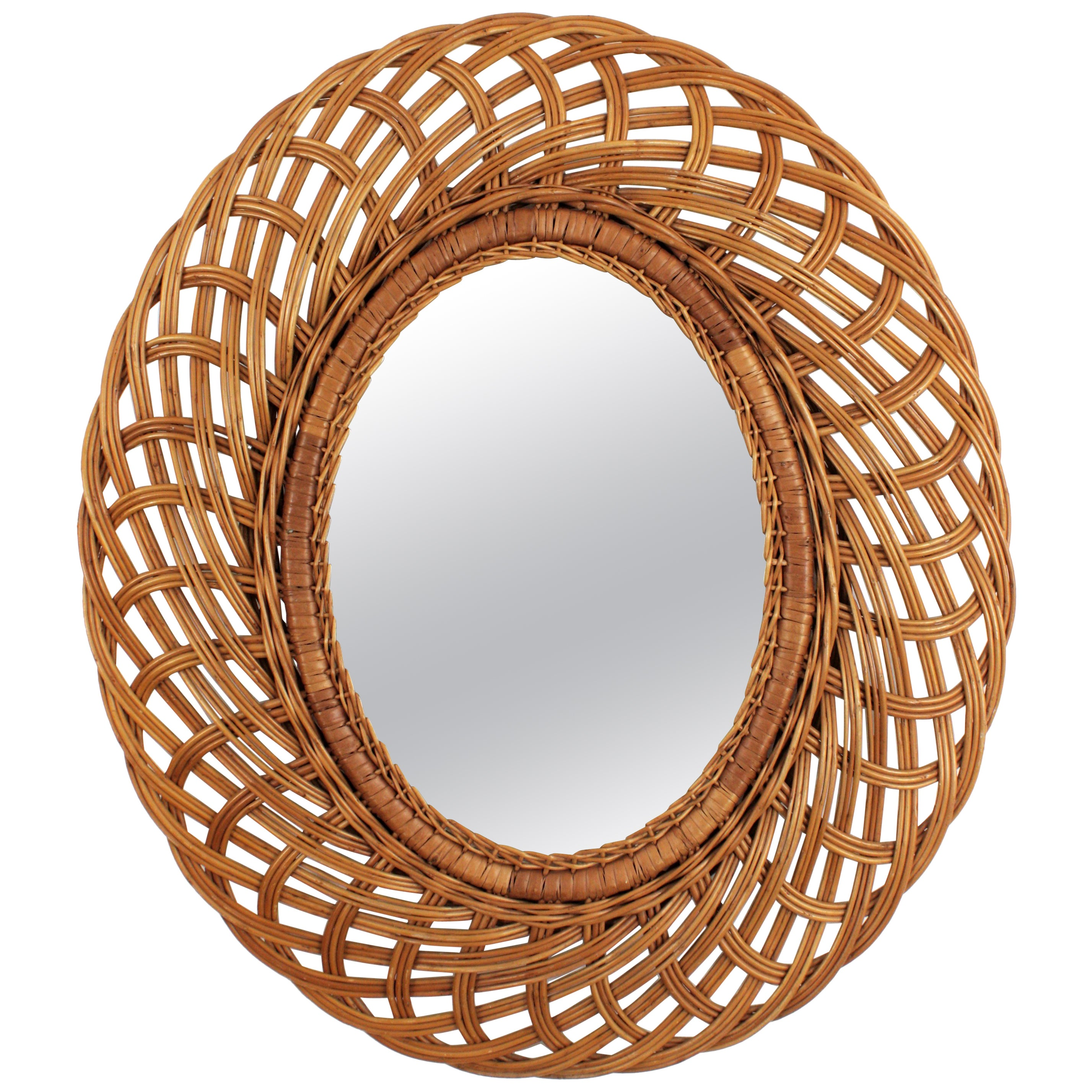 Oval Mirror Handcrafted with Woven Rattan, Bohemian Style , Spain, 1960s