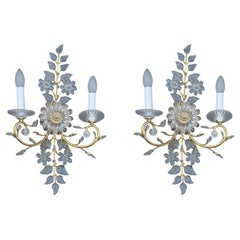 Pair Maison Baguès Wall Sconces Crystal Solid Gold Brass 1970 France Baccarat