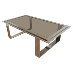 Attributed to Willy Rizzo, Chrome and Brass Design Coffee Table, Circa 1970