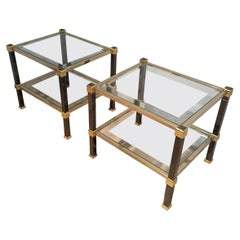 Pair of Black Laquered and Gild Side Tables, Circa 1970