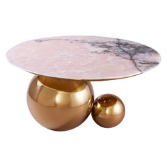 'Jinshi' Coffee Table Featuring Pink Jade with a Rose-Gold Brass Tone Base