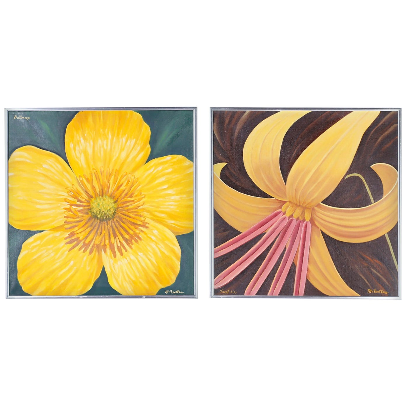 Two Acrylic on Canvas Paintings of Flowers by Dale McFeatters