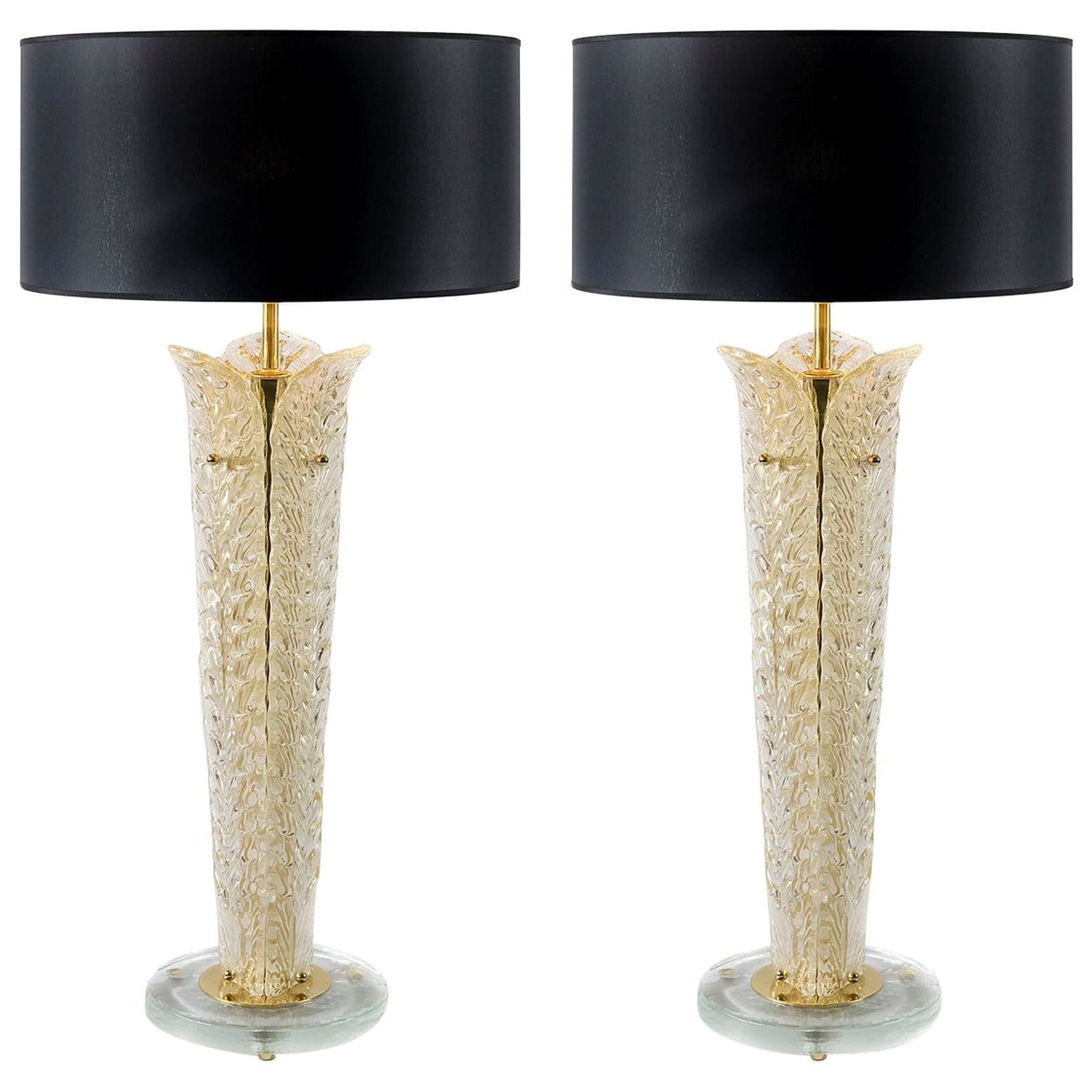 Pair of Italian Table Lamps with Leaf Form Murano Glass