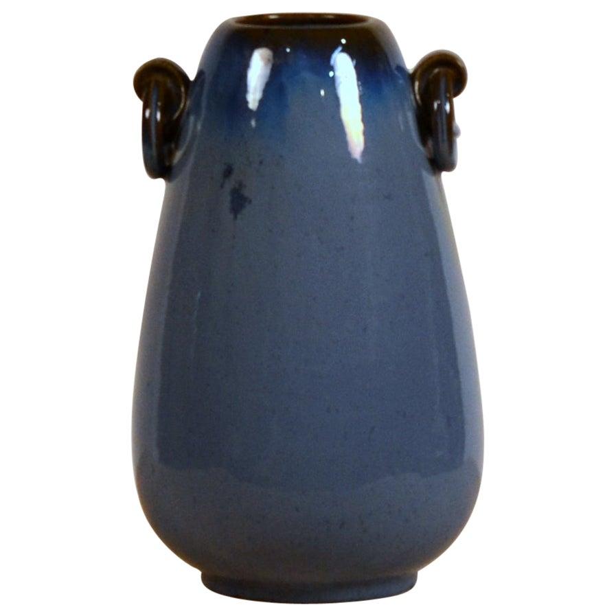 Pristine Fulper Blue Glazed Pottery Handled Vase or Urn