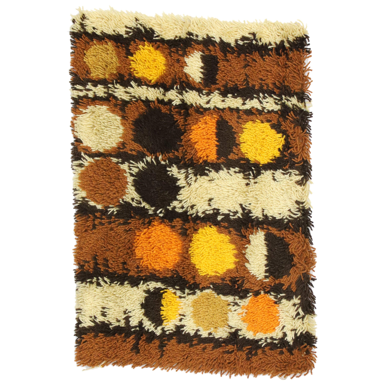 Scandinavian Modern Swedish Vintage Ege Rya Shag Rug, Danish Design Tapestry