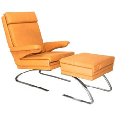Mid Century Modern Brown Vintage Armchair Reinhold Adolf COR, Germany, 1968