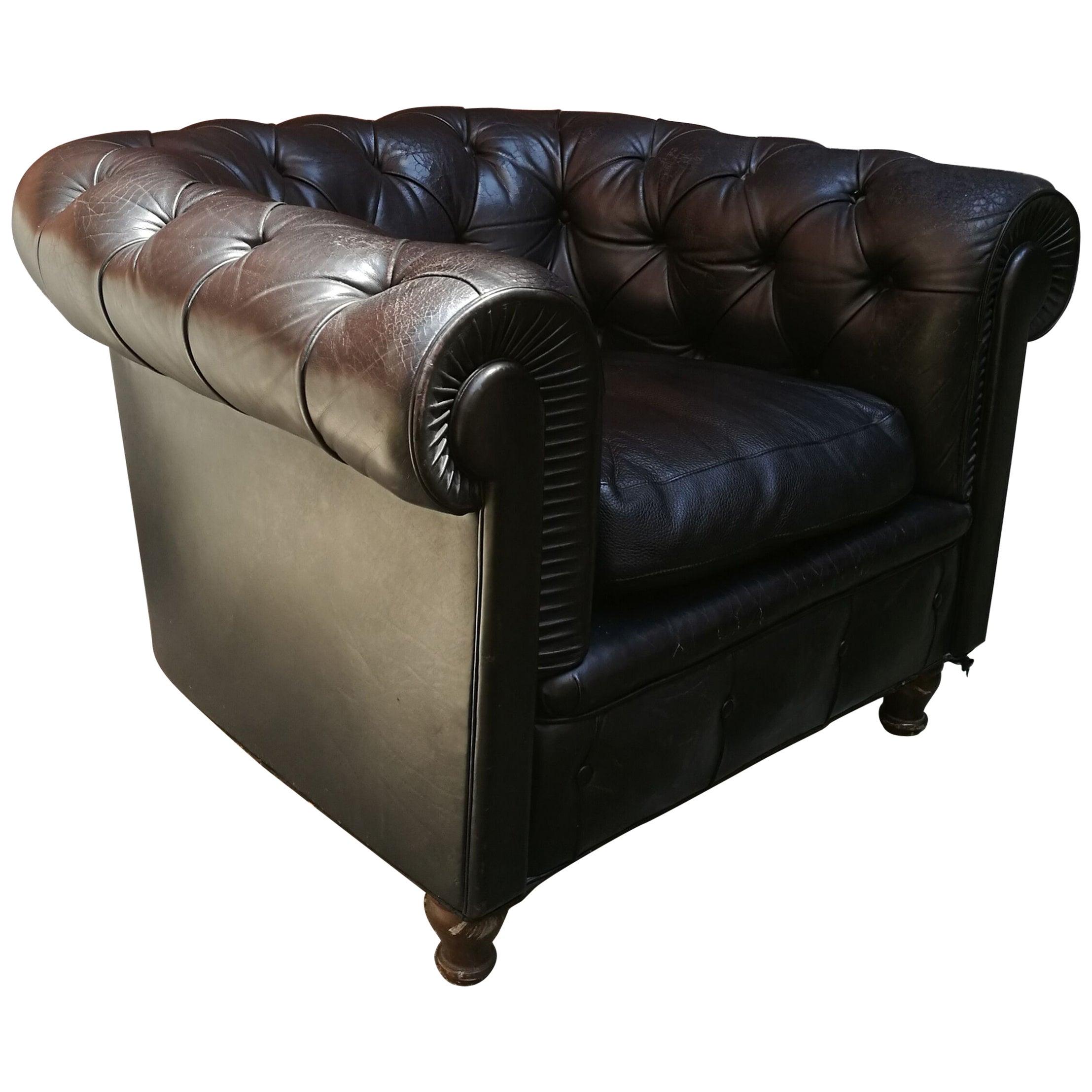 Black Lather Italian Chester Poltrona Frau Original Armchairs from 1960s