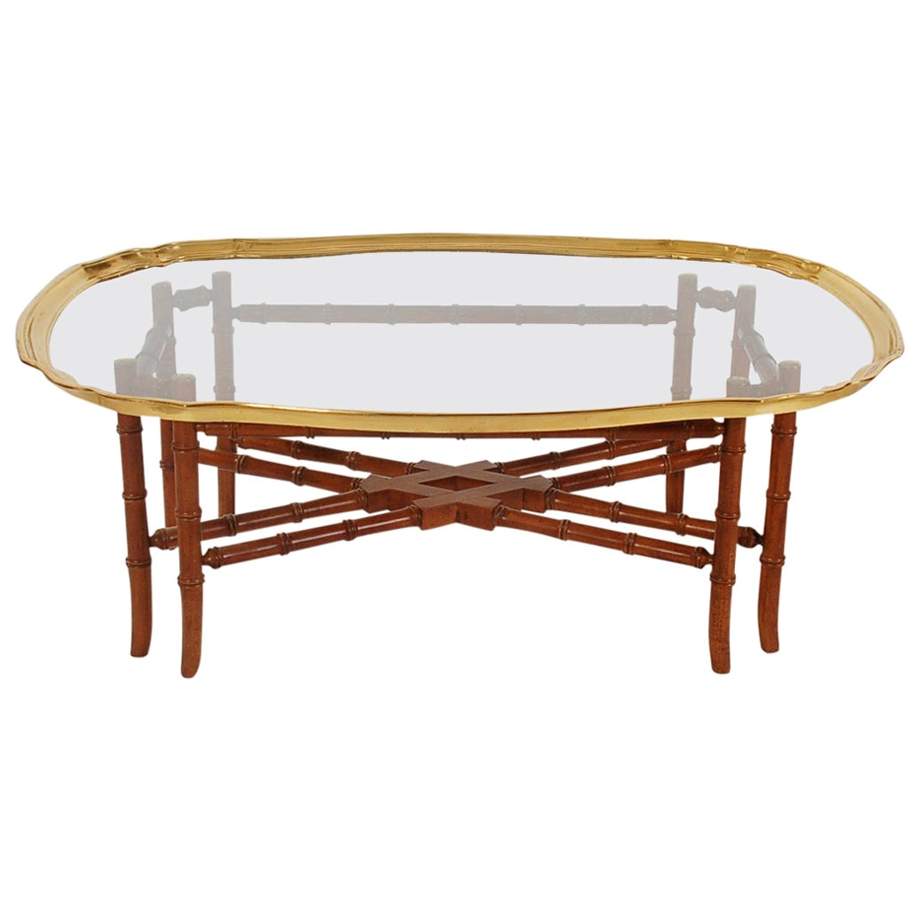 Small Scale Hollywood Regency Faux Bamboo Wood Brass Tray Cocktail Table