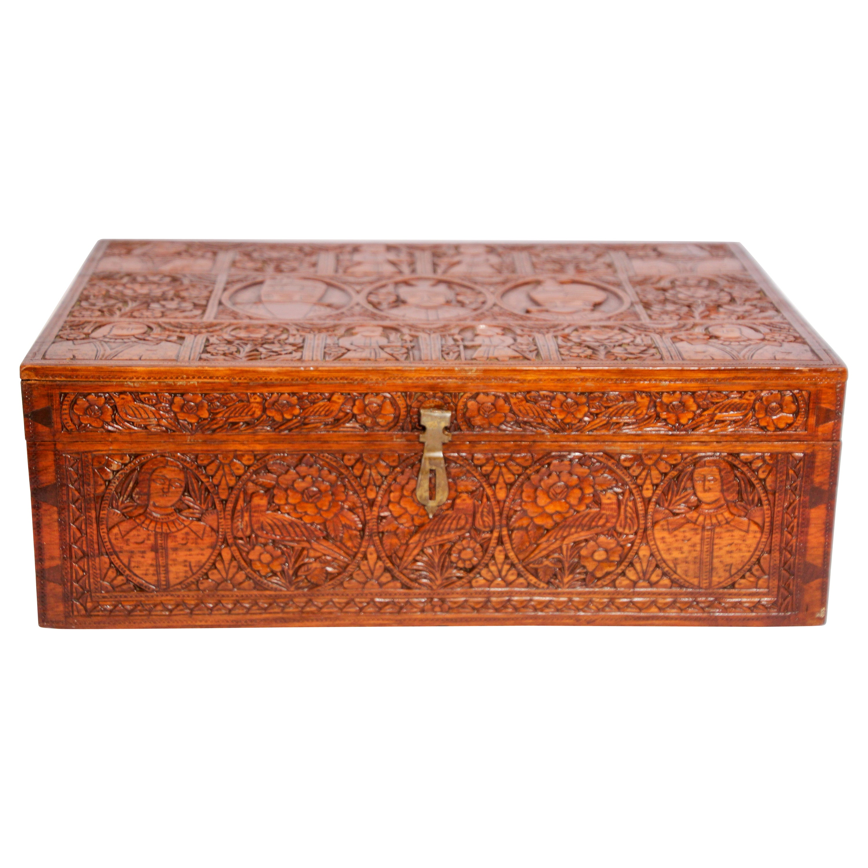 Large Early 19th Century Antique Hand Carved Wooden Mughal Decorative Box