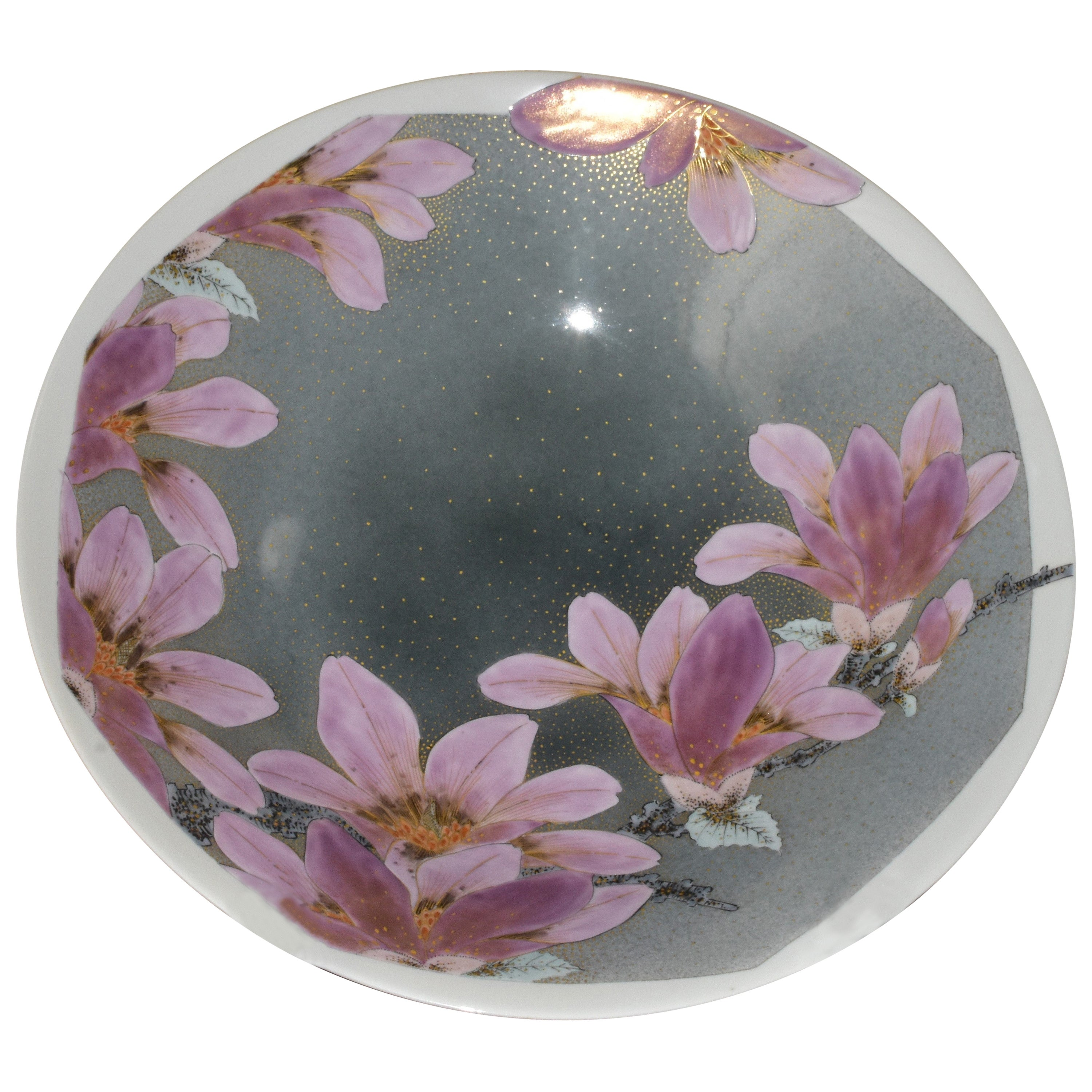 Large Gray Pink Porcelain Charger by Contemporary Japanese Master Artist