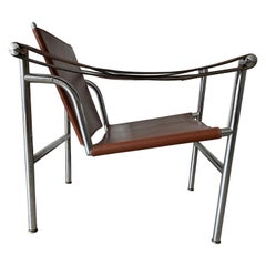 Bauhaus Style Tubular Chair / Basculant Armchair by and Marked Le Corbusier LC1