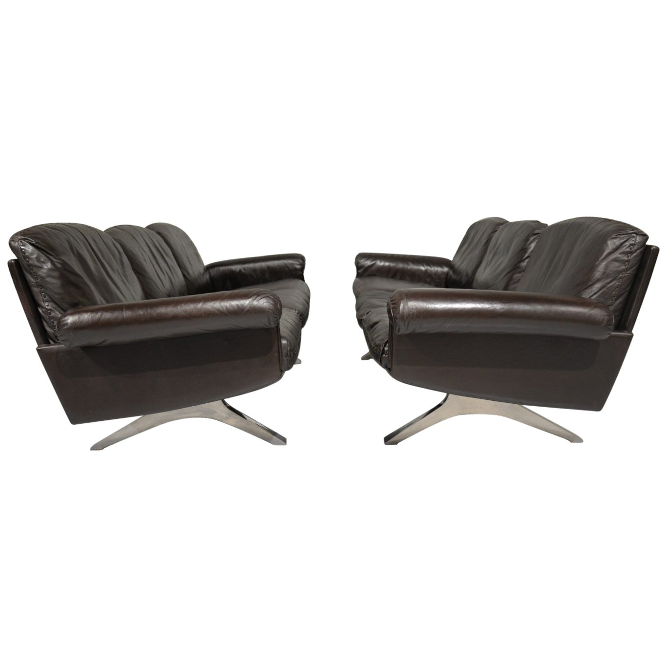 Vintage De Sede DS 31 Leather Three-Seat Sofas, Switzerland 1970s