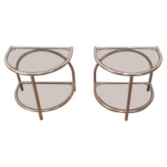 Pair of Faux-Bambou Nickel Rounded Side Tables, Circa 1970
