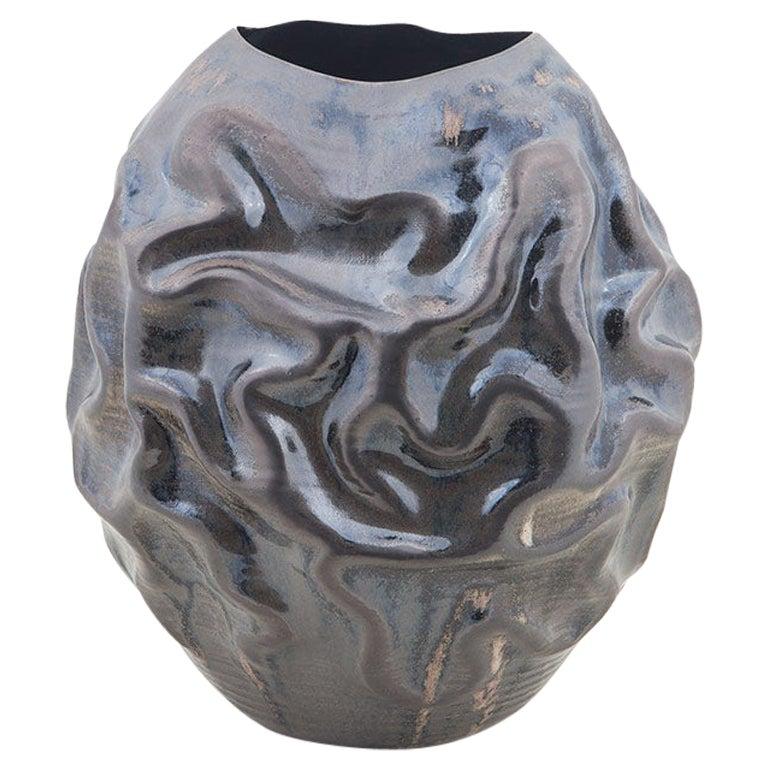 Black Crumpled Vessel Vase, Interior Sculpture or Vessel, Objet D'art