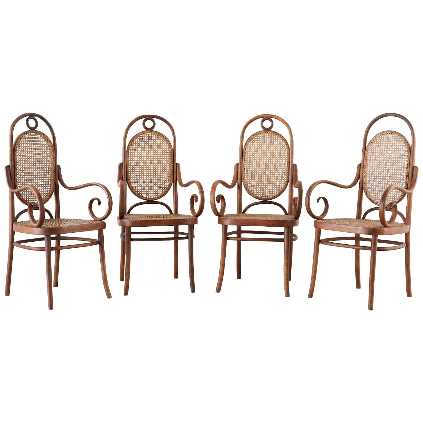 Set of Four Thonet No. 17 Bentwood and Cane Armchairs