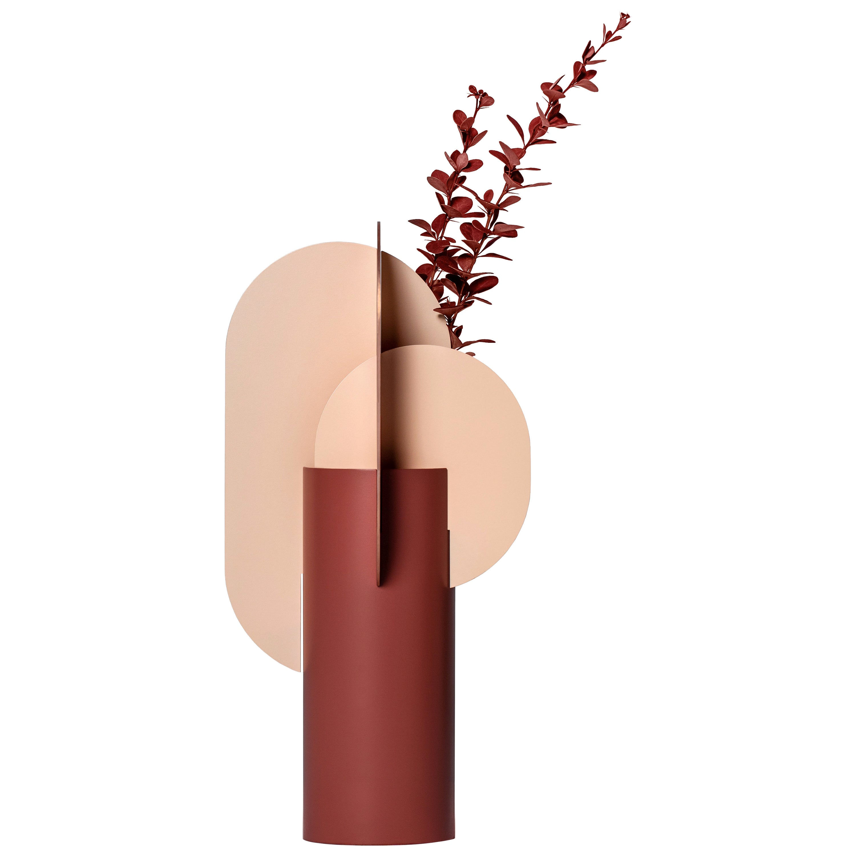 Modern Metal Vase Ekster CS7 by Noom in Copper and Steel