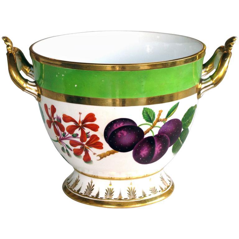 Good Quality Paris Porcelain Polychromed Double-Handled Cache Pot or Jardiniere