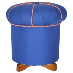 Art Deco Blue Fabric Vintage Pouf or Stool, Austria, 1930s