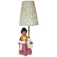Mid-Century Modern Pink Vintage Ceramic Table Lamp by Carli Bauer 1950s, Austria