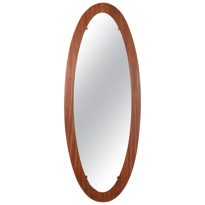 Oval Wall Mirror Frame with Mahogany, 1960s, Italy, Mid-Century Modern