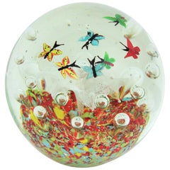 Extra Large Murano Art Glass Butterflies Landscape Paperweight with Air Bubbles