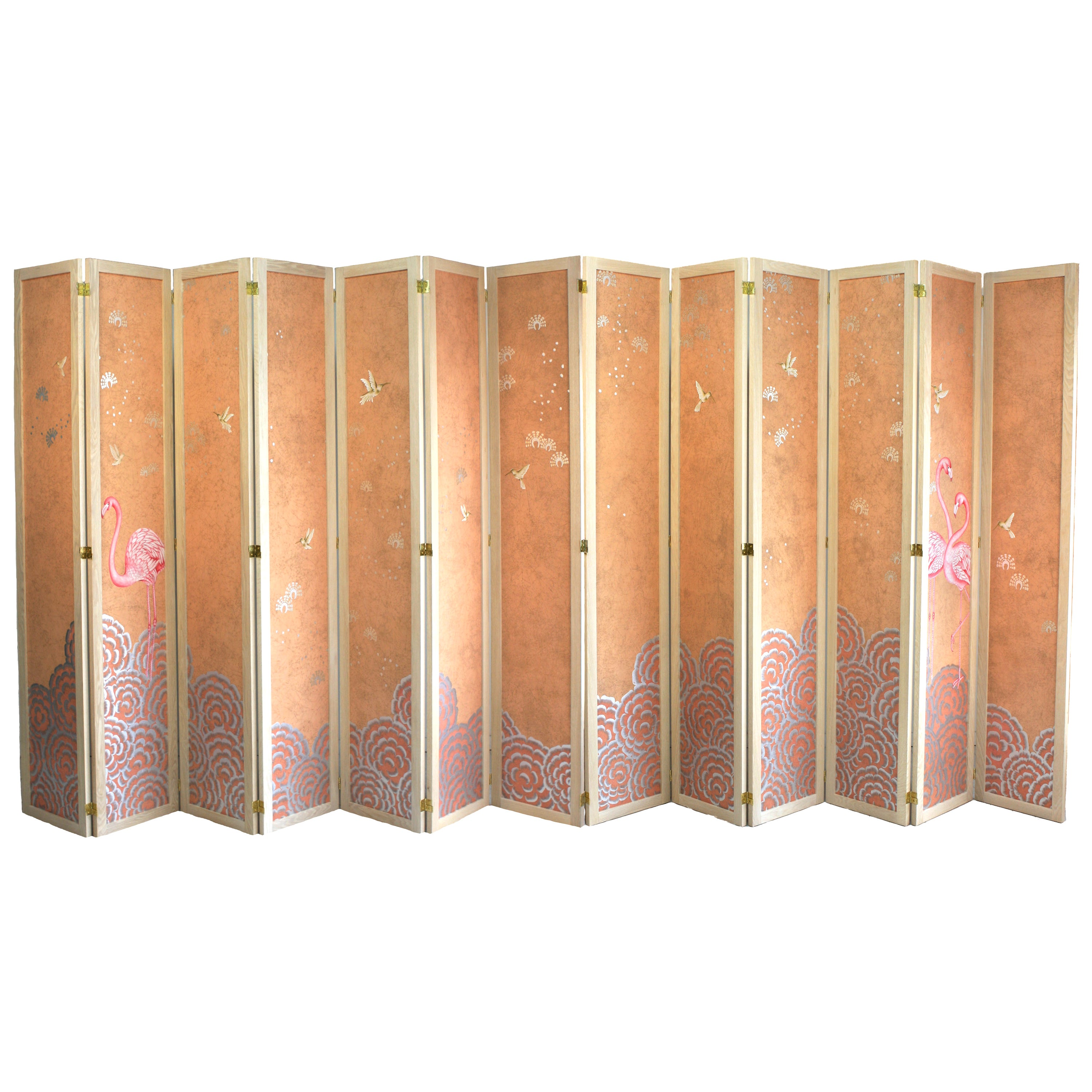 Hand Painted Folding Panel Screen