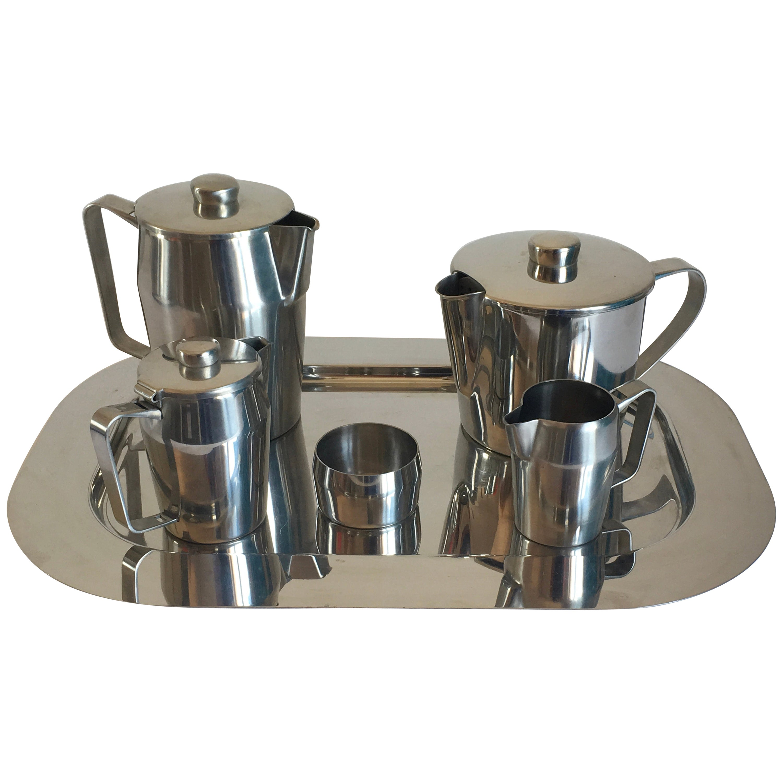 Gio Ponti Tea Set Steel for Sambonet, 1970
