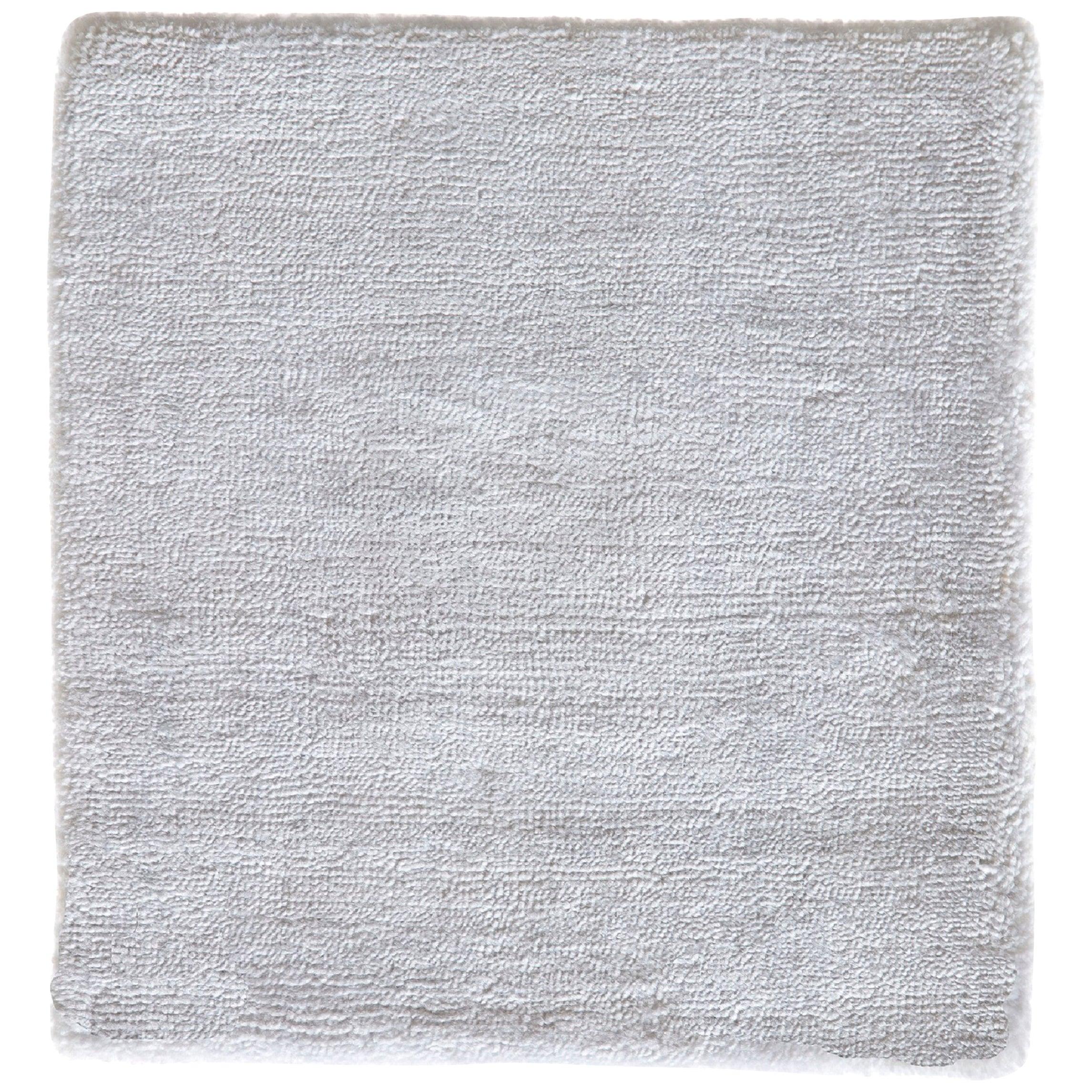 Modern Sold White Neutral Hand Loom Rug