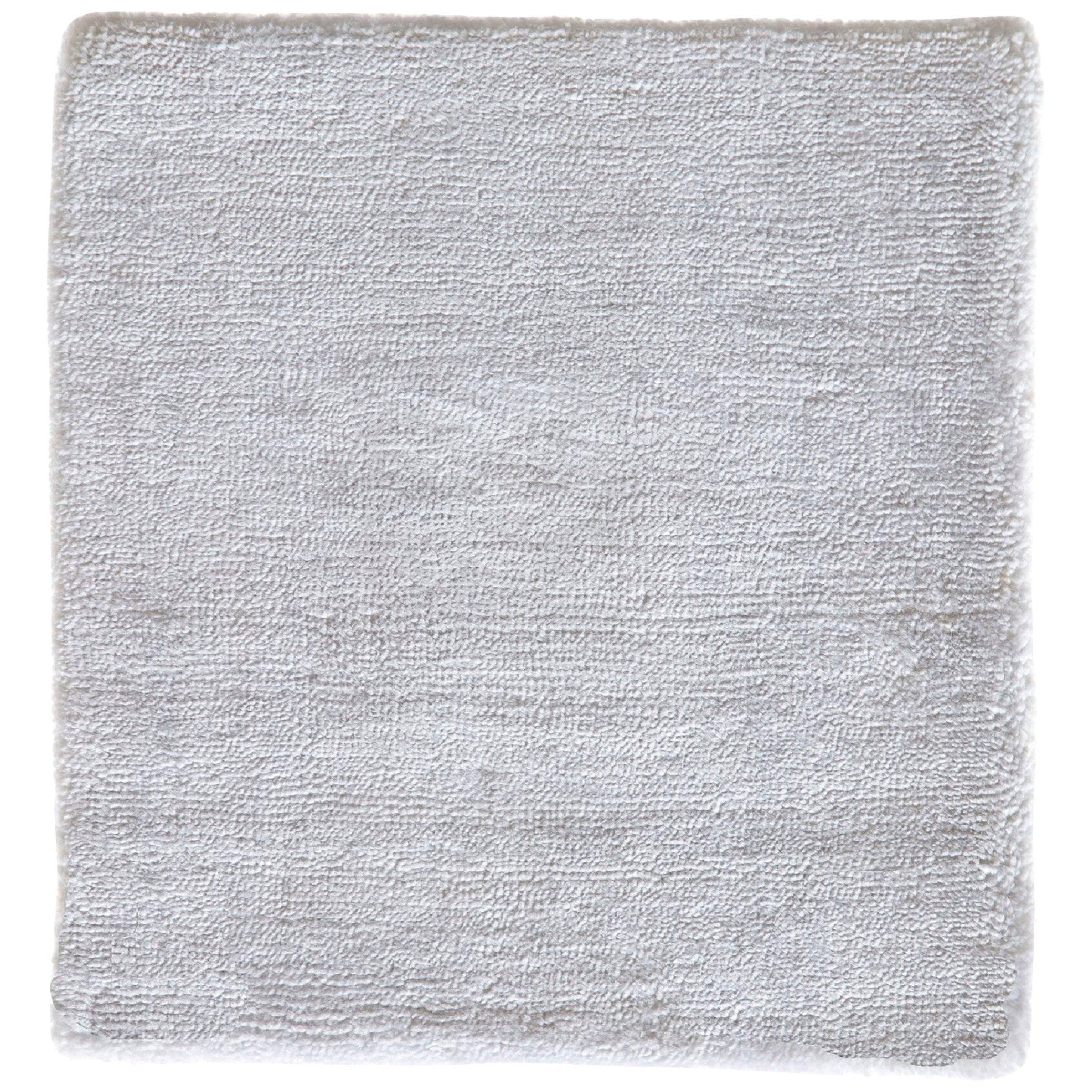 Natural White Hand-loomed Bamboo Silk Modernist Rug