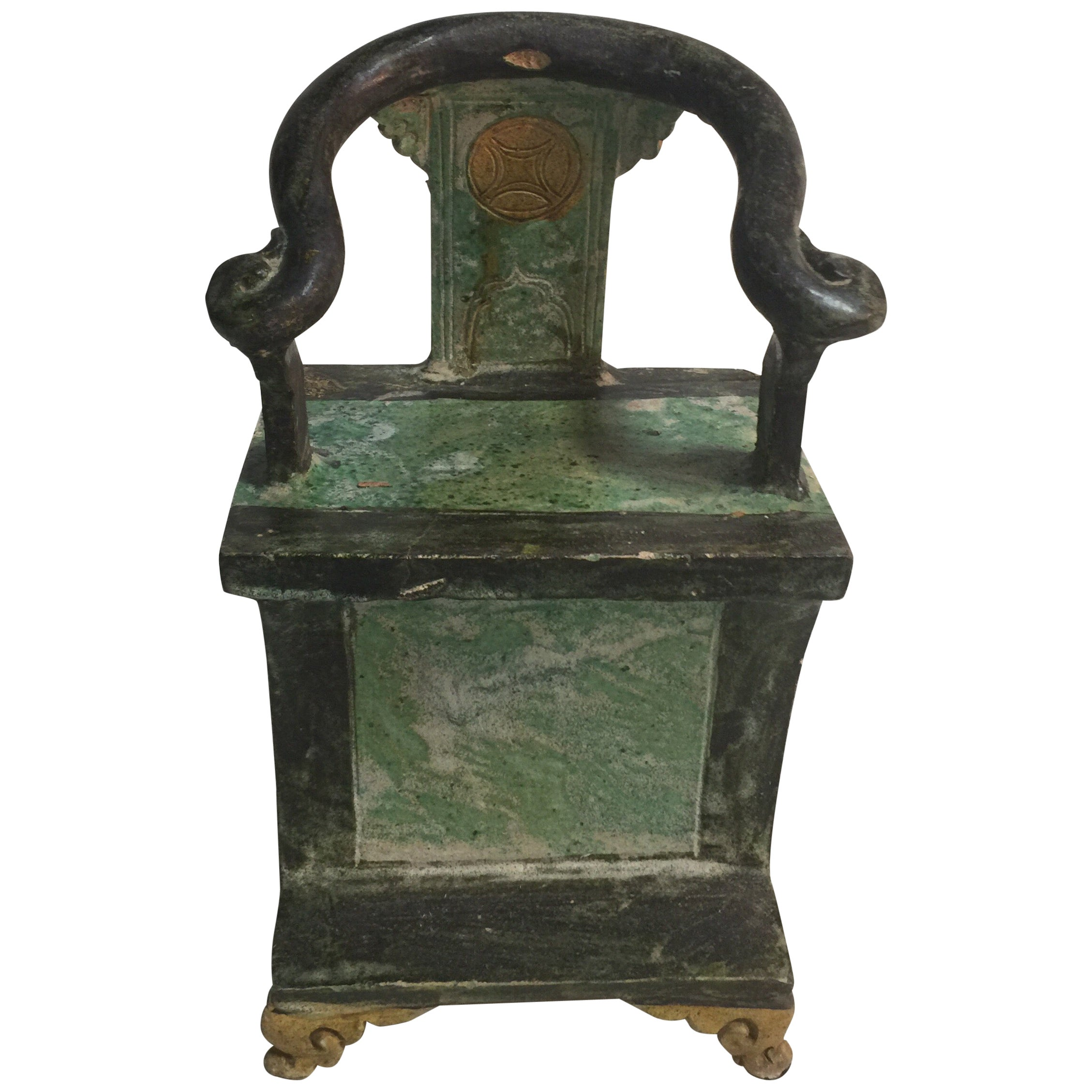 Pair of Chinese Ming Dynasty Green Glazed Mingqi Chairs