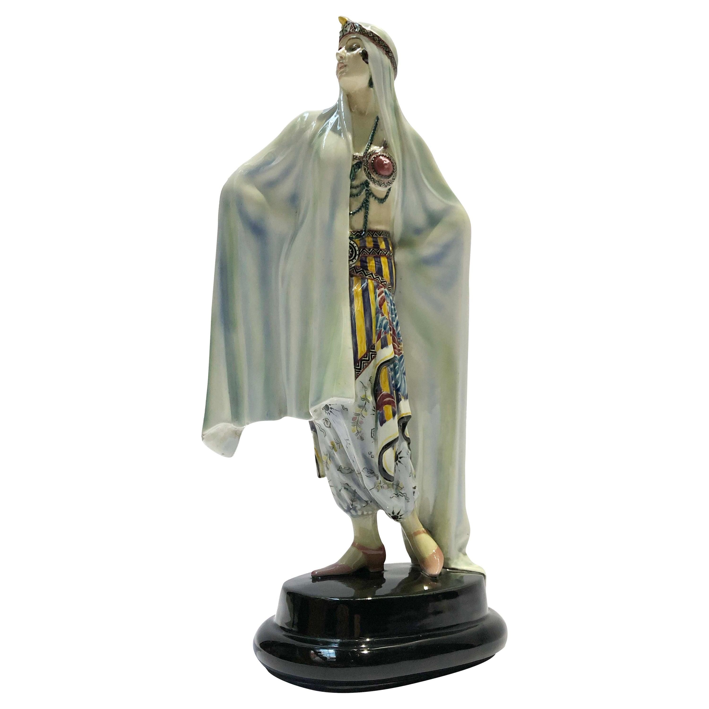 "Painted Ceramic ""Aida Odalisque"" by Josef Lorenzl Signed Goldscheider"