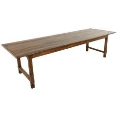 Ten Foot Long French Artisan Made Oak Farm Table or Dining Table, circa 1900