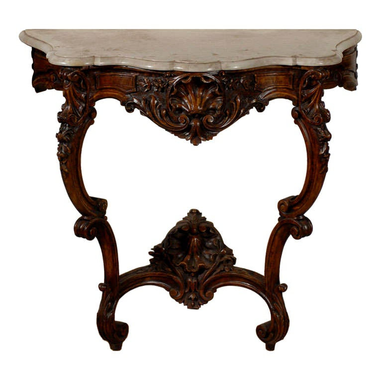 French Rococo Style 19th Century Carved Wooden Console Table with Marble Top