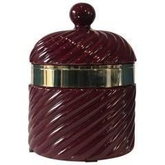 Tommaso Barbi Ice Bucket in Red Bordeaux Porcelain