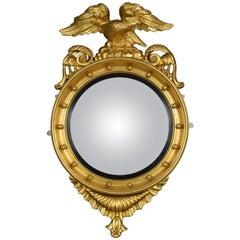 Regency Giltwood and Gesso Circular Convex Mirror
