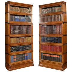 Pair of Oak Globe Wernicke Six Section Bookcases