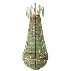 Venetian Green Opaline Murano Linked Glass Squares Empire Chandelier