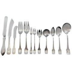 Norman Hammered by Shreve Sterling Silver Flatware Set Service 77 Pcs M Monogram