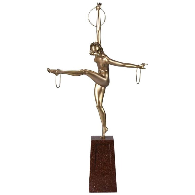 Cold Painted French Art Deco Bronze Figure 'Hoop Dancer' by Georges Duvernet For Sale