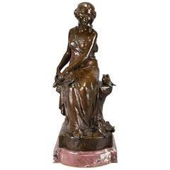 """French Art Nouveau Bronze Figure """"Femme Avec Oiseaux"""" by Maurice Bouval"""