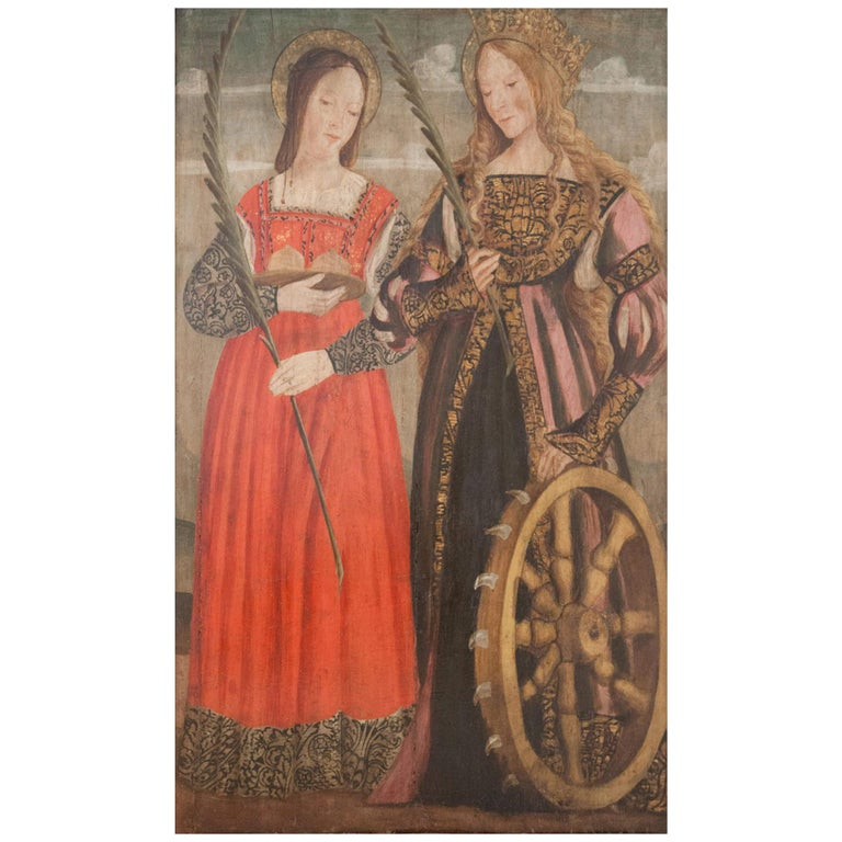 Altar Retable Depicting Mary, Catherine and Agatha, 16th Century For Sale